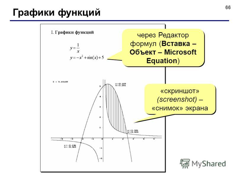 66 Графики функций «скриншот» (screenshot) – «снимок» экрана через Редактор формул (Вставка – Объект – Microsoft Equation)