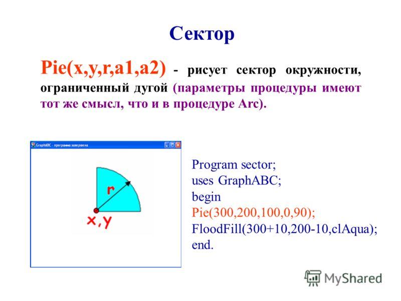 Pie(x,y,r,a1,a2) - рисует сектор окружности, ограниченный дугой (параметры процедуры имеют тот же смысл, что и в процедуре Arc). Сектор Program sector; uses GraphABC; begin Pie(300,200,100,0,90); FloodFill(300+10,200-10,clAqua); end.