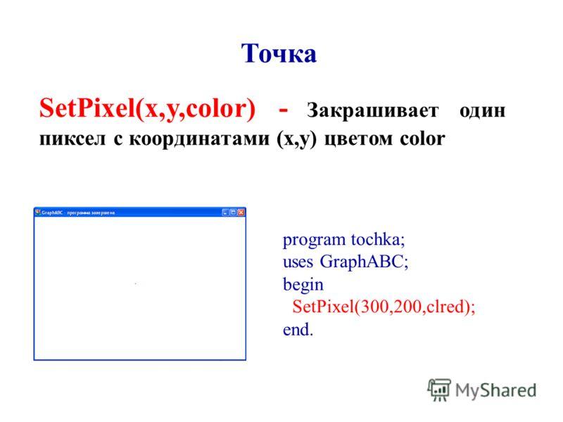 Точка SetPixel(x,y,color) - Закрашивает один пиксел с координатами (x,y) цветом color program tochka; uses GraphABC; begin SetPixel(300,200,clred); end.