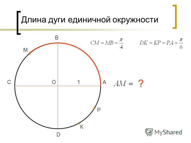 Длина дуги единичной окружности О D С В А1 М К Р ?