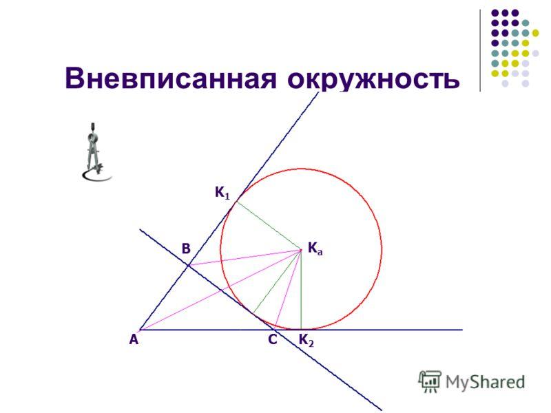 Вневписанная окружность B AC KaKa K1K1 K2K2