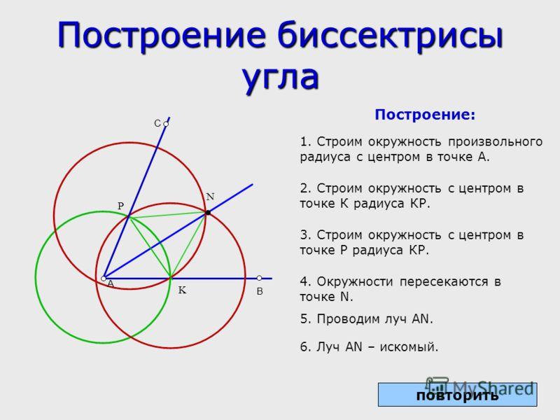 Построение биссектрисы угла A B C K P N Построение: 1. Строим окружность произвольного радиуса с центром в точке А. 2. Строим окружность с центром в точке К радиуса КР. 3. Строим окружность с центром в точке Р радиуса КР. 4. Окружности пересекаются в