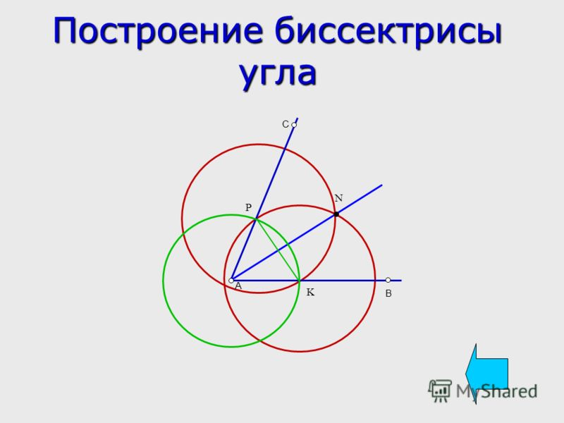 Построение биссектрисы угла A B C K P N