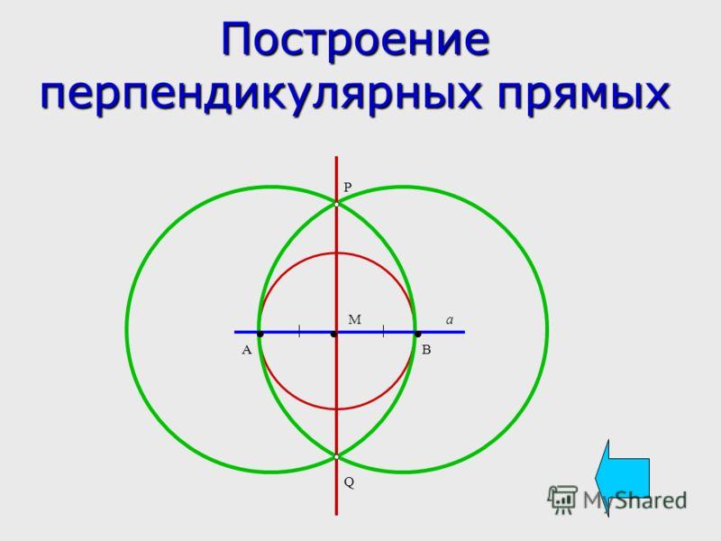 Построение перпендикулярных прямых М АВ Р Q a