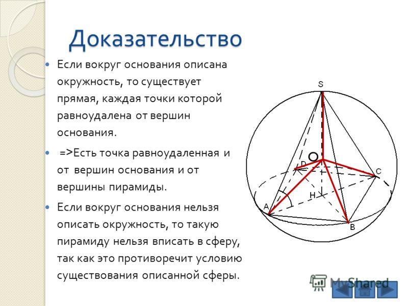 Доказательство Если вокруг основания описана окружность, то существует прямая, каждая точки которой равноудалена от вершин основания. => Есть точка равноудаленная и от вершин основания и от вершины пирамиды. Если вокруг основания нельзя описать окруж