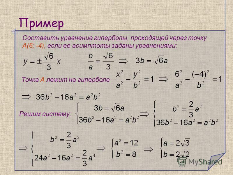 Пример Составить уравнение гиперболы, проходящей через точку А(6; -4), если ее асимптоты заданы уравнениями: Решим систему: Точка А лежит на гиперболе