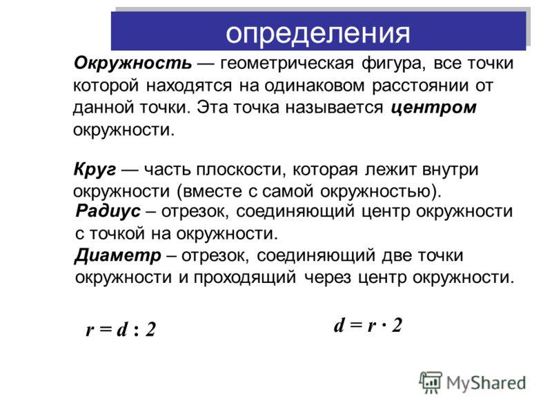 определения Окружность геометрическая фигура, все точки которой находятся на одинаковом расстоянии от данной точки. Эта точка называется центром окружности. Круг часть плоскости, которая лежит внутри окружности (вместе с самой окружностью). Радиус –