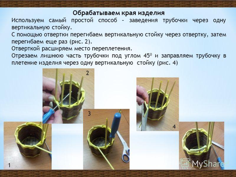 Обрабатываем края изделия Используем самый простой способ – заведения трубочки через одну вертикальную стойку. С помощью отвертки перегибаем вертикальную стойку через отвертку, затем перегибаем еще раз (рис. 2). Отверткой расширяем место переплетения