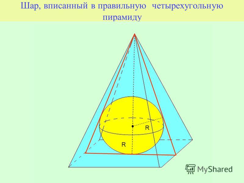Шар, вписанный в правильную четырехугольную пирамиду R R