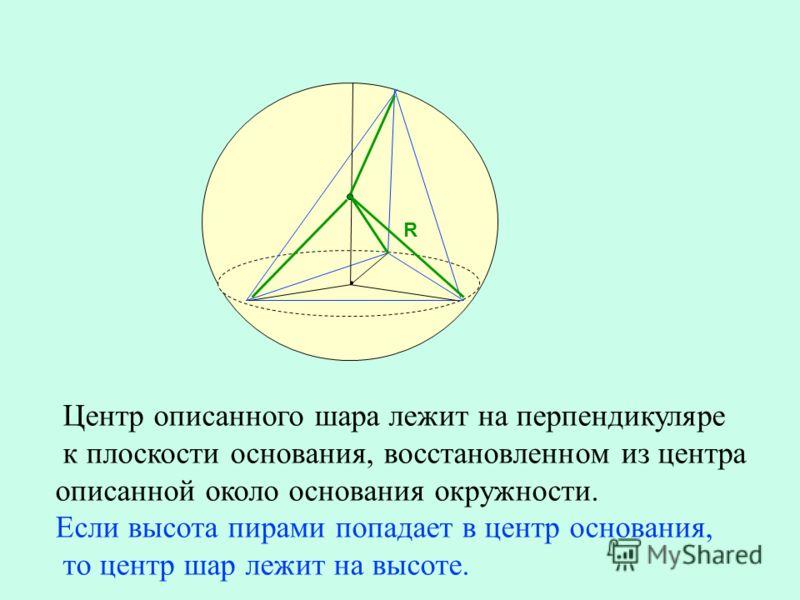 Центр описанного шара лежит на перпендикуляре к плоскости основания, восстановленном из центра описанной около основания окружности. Если высота пирами попадает в центр основания, то центр шар лежит на высоте. R