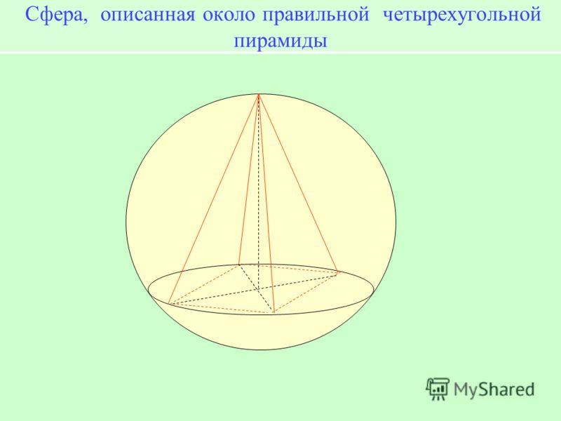 Сфера, описанная около правильной четырехугольной пирамиды