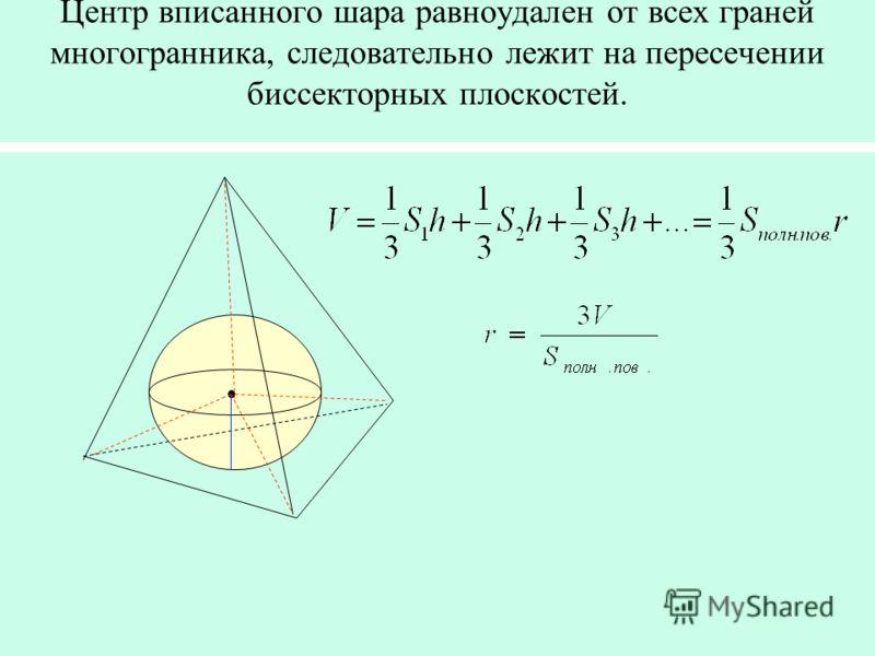 Центр вписанного шара равноудален от всех граней многогранника, следовательно лежит на пересечении биссекторных плоскостей.