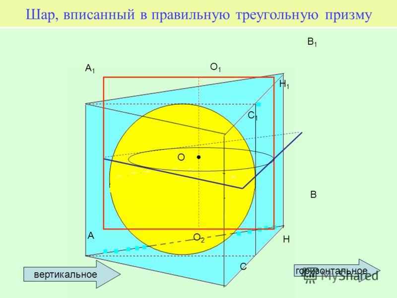 Шар, вписанный в правильную треугольную призму A B C O2O2 O O1O1 A1A1 B1B1 C1C1 H H1H1 горизонтальное вертикальное