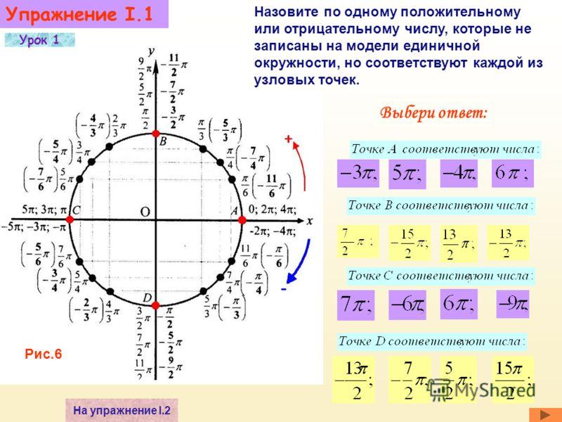 Смотрите рис.3 2.Каждая точка окружности изображает бесконечное множество действительных чисел. 3. Точки A, B, C, D назовем узловыми. 1. Каждому действительному числу соответствует единственная точка окружности. К упражнению I,1 А В С D Рис.5 Автомат