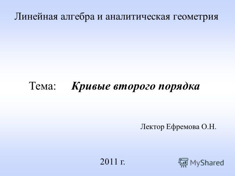 Линейная алгебра и аналитическая геометрия Лектор Ефремова О.Н. 2011 г. Тема: Кривые второго порядка