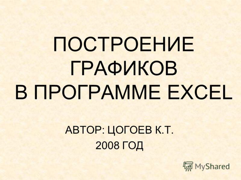 ПОСТРОЕНИЕ ГРАФИКОВ В ПРОГРАММЕ EXCEL АВТОР: ЦОГОЕВ К.Т. 2008 ГОД
