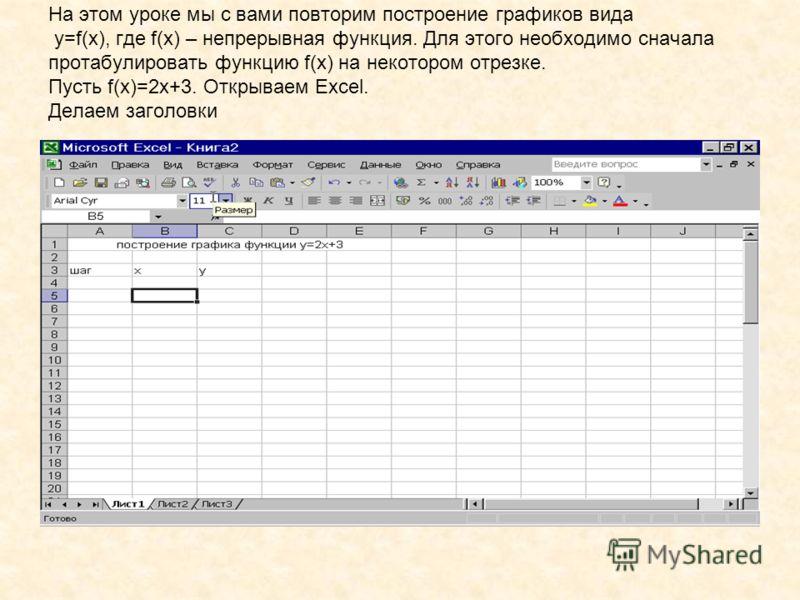 На этом уроке мы с вами повторим построение графиков вида y=f(x), где f(x) – непрерывная функция. Для этого необходимо сначала протабулировать функцию f(x) на некотором отрезке. Пусть f(x)=2x+3. Открываем Excel. Делаем заголовки