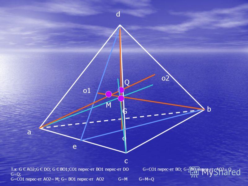d c b o1 o a o2 e Т.к G Є AO2;G Є DO; G Є BO1;CO1 перес-ет BO1 перес-ет DO G=CO1 перес-ет BO; G= BO перес-ет AO2= Q G=Q; G=CO1 перес-ет AO2= M; G= BO1 перес-ет AO2 G=M G=M=Q M Q G