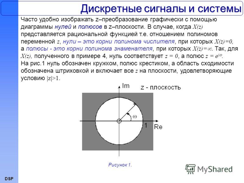 DSP Дискретные сигналы и системы Часто удобно изображать z–преобразование графически с помощью диаграммы нулей и полюсов в z–плоскости. В случае, когда X(z) представляется рациональной функцией т.е. отношением полиномов переменной z, нули – это корни