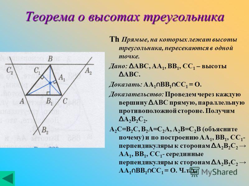 Теорема о высотах треугольника Th Прямые, на которых лежат высоты треугольника, пересекаются в одной точке. Дано: Δ ABC, AA 1, BB 1, CC 1 – высоты Δ ABC. Доказать: AA 1 BB 1 CC 1 = O. Доказательство: Проведем через каждую вершину Δ ABC прямую, паралл