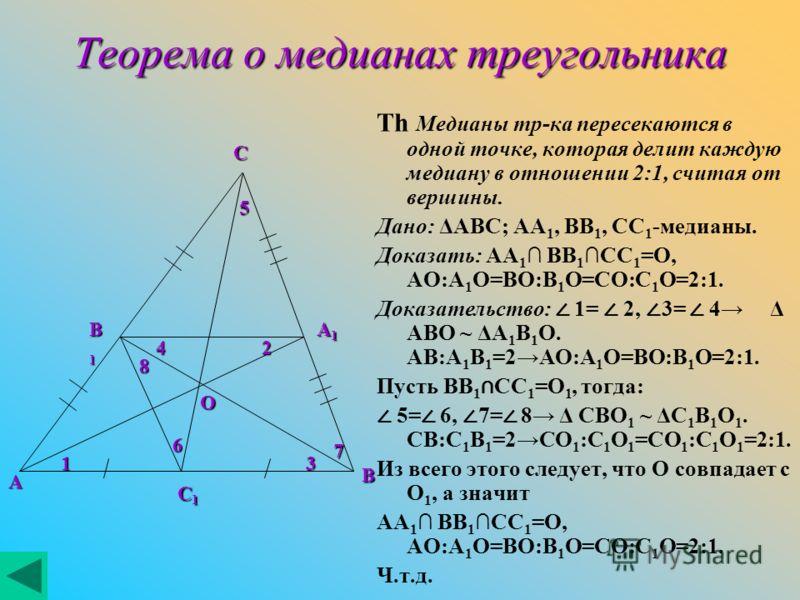 Теорема о медианах треугольника Th Медианы тр-ка пересекаются в одной точке, которая делит каждую медиану в отношении 2:1, считая от вершины. Дано: ΔABC; AA 1, BB 1, CC 1 -медианы. Доказать: AA 1 BB 1CC 1 =O, AO:A 1 O=BO:B 1 O=CO:C 1 O=2:1. Доказател