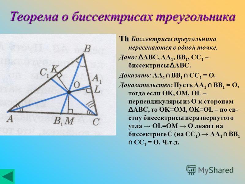 Теорема о биссектрисах треугольника Th Биссектрисы треугольника пересекаются в одной точке. Дано: Δ ABC, AA 1, BB 1, CC 1 – биссектрисы Δ ABC. Доказать: AA 1 BB 1 CC 1 = O. Доказательство: Пусть AA 1 BB 1 = O, тогда если OK, OM, OL – перпендикуляры и