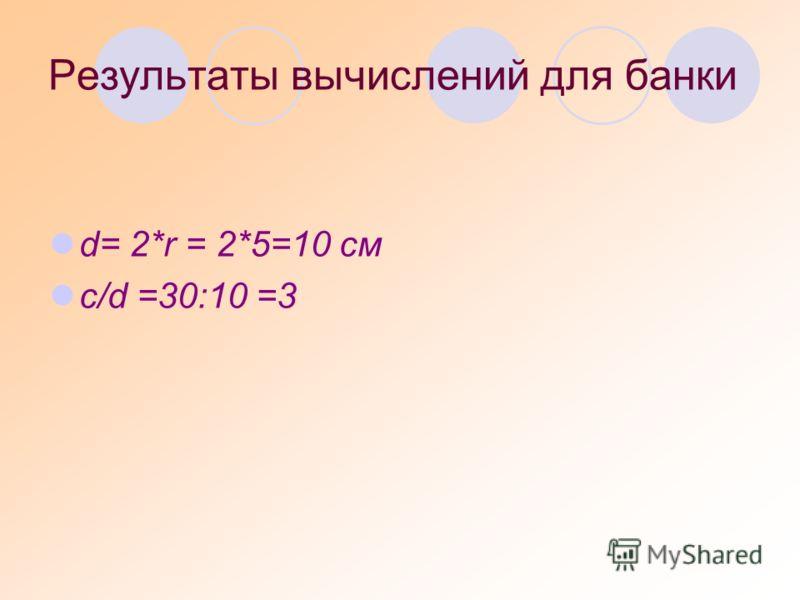 Результаты вычислений для банки d= 2*r = 2*5=10 см с/d =30:10 =3