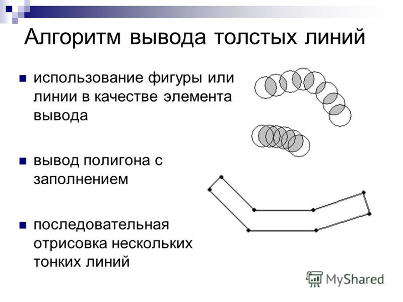 Алгоритм вывода толстых линий использование фигуры или линии в качестве элемента вывода вывод полигона с заполнением последовательная отрисовка нескольких тонких линий
