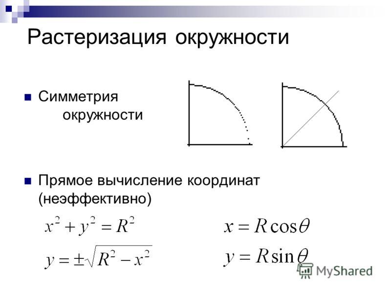 Растеризация окружности Симметрия окружности Прямое вычисление координат (неэффективно)