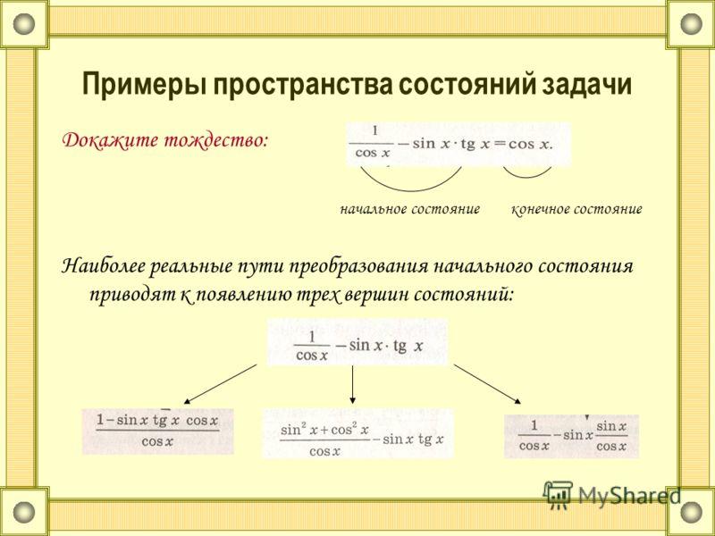 Примеры пространства состояний задачи Докажите тождество: начальное состояние конечное состояние Наиболее реальные пути преобразования начального состояния приводят к появлению трех вершин состояний: