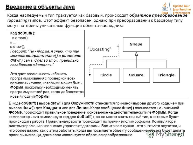 13 Введение в объекты Java Когда наследуемый тип трактуется как базовый, происходит обратное преобразование (upcasting) типов. Этот эффект безопасен, однако при преобразовании к базовому типу могут потеряны уникальные функции объекта-наследника Код d
