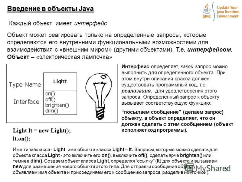 3 Введение в объекты Java Каждый объект имеет интерфейс Объект может реагировать только на определенные запросы, которые определяются его внутренними функциональными возможностями для взаимодействия с «внешним миром» (другими объектами). Т.е. интерфе