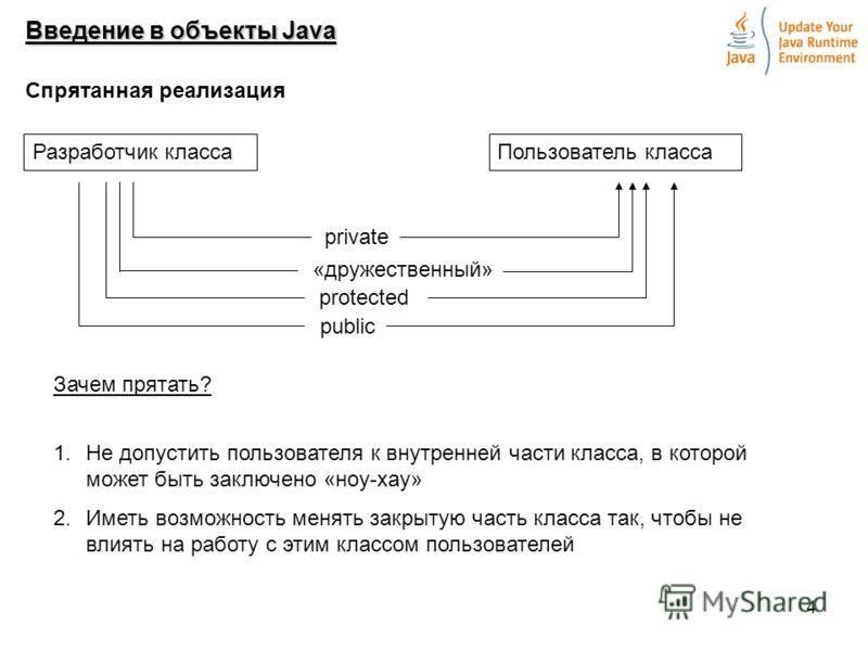 4 Введение в объекты Java Спрятанная реализация Разработчик классаПользователь класса private protected public «дружественный» 1.Не допустить пользователя к внутренней части класса, в которой может быть заключено «ноу-хау» 2.Иметь возможность менять