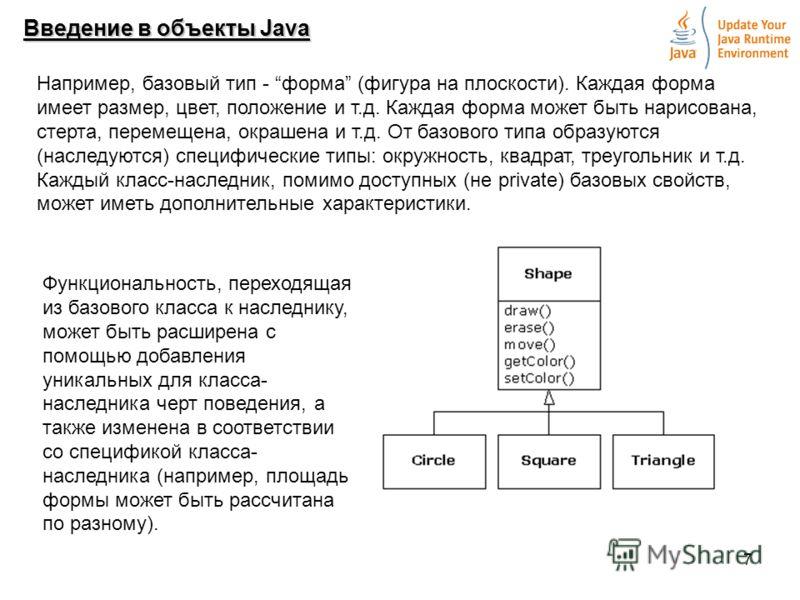 7 Введение в объекты Java Например, базовый тип - форма (фигура на плоскости). Каждая форма имеет размер, цвет, положение и т.д. Каждая форма может быть нарисована, стерта, перемещена, окрашена и т.д. От базового типа образуются (наследуются) специфи