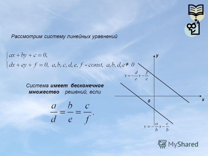 Рассмотрим систему линейных уравнений 0 y x Система имеет бесконечное множество решений, если