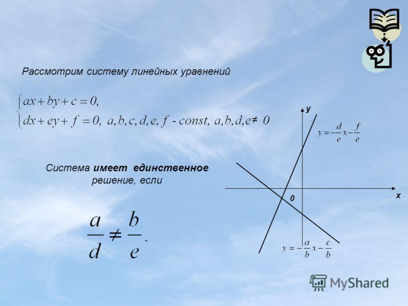 Рассмотрим систему линейных уравнений 0 y x Система имеет единственное решение, если