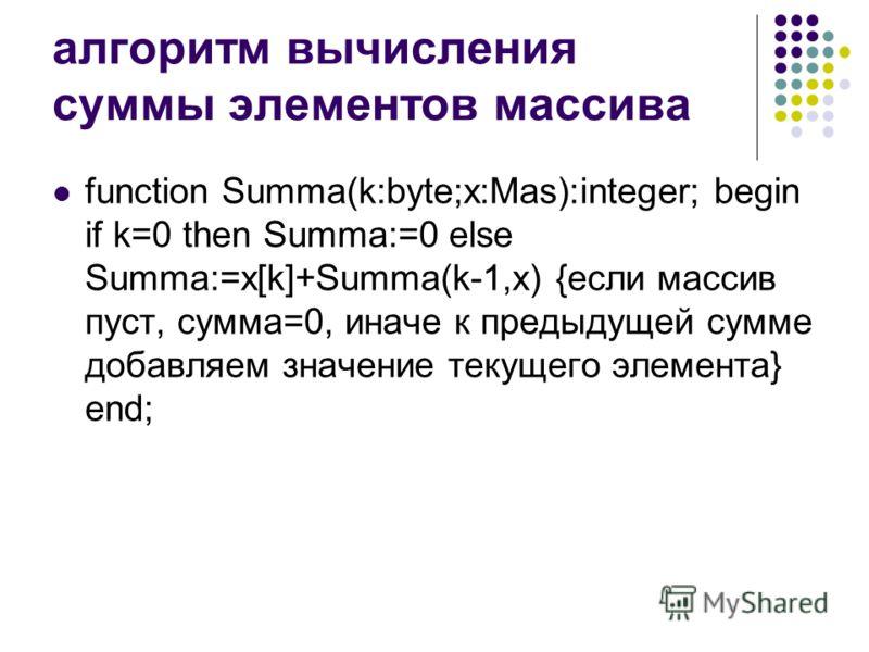 алгоритм вычисления суммы элементов массива function Summa(k:byte;x:Mas):integer; begin if k=0 then Summa:=0 else Summa:=x[k]+Summa(k-1,x) {если массив пуст, сумма=0, иначе к предыдущей сумме добавляем значение текущего элемента} end;