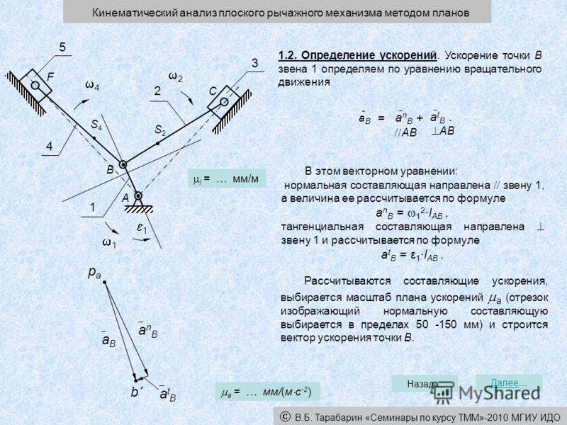 1.2. Определение ускорений. Ускорение точки В звена 1 определяем по уравнению вращательного движения В этом векторном уравнении: нормальная составляющая направлена звену 1, а величина ее рассчитывается по формуле a n B = 1 2 ·l AB, тангенциальная сос