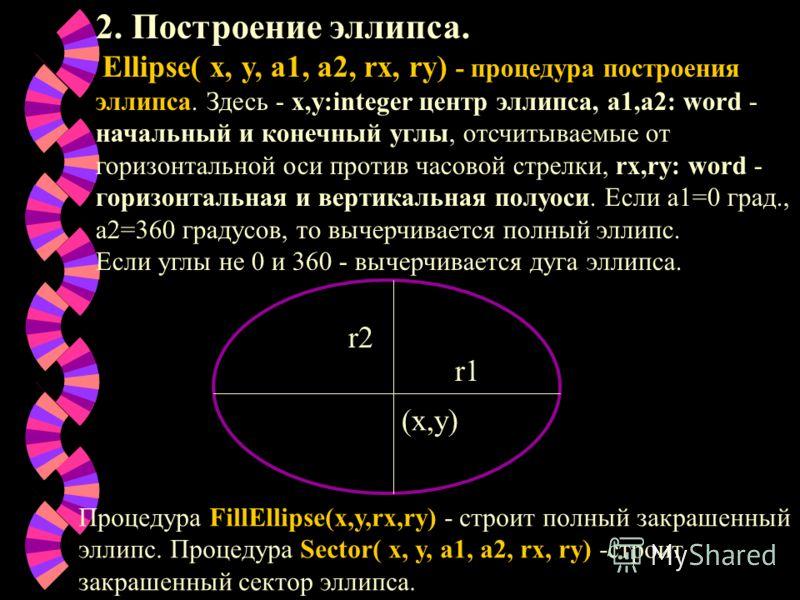 2. Построение эллипса. Ellipse( x, y, a1, a2, rx, ry) - процедура построения эллипса. Здесь - х,у:integer центр эллипса, а1,а2: word - начальный и конечный углы, отсчитываемые от горизонтальной оси против часовой стрелки, rx,ry: word - горизонтальная