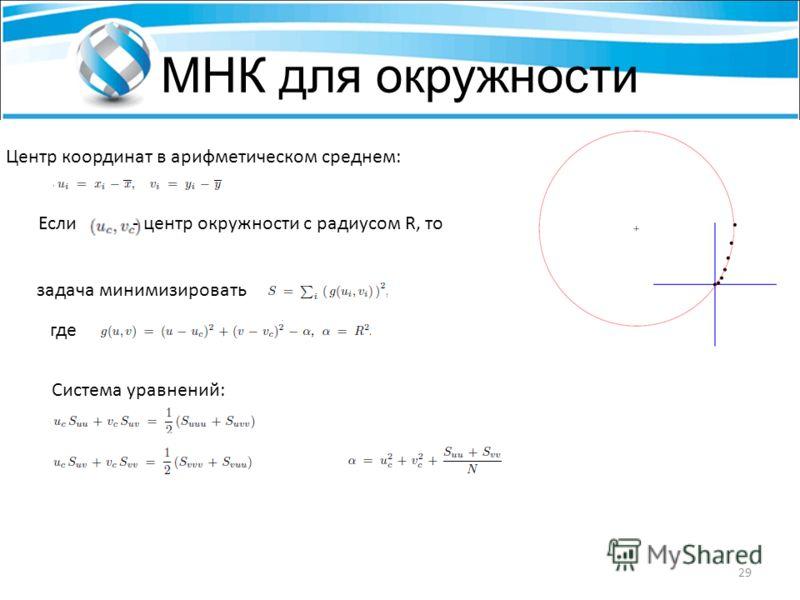 МНК для окружности Центр координат в арифметическом среднем: Если- центр окружности с радиусом R, то задача минимизировать где Система уравнений: 29