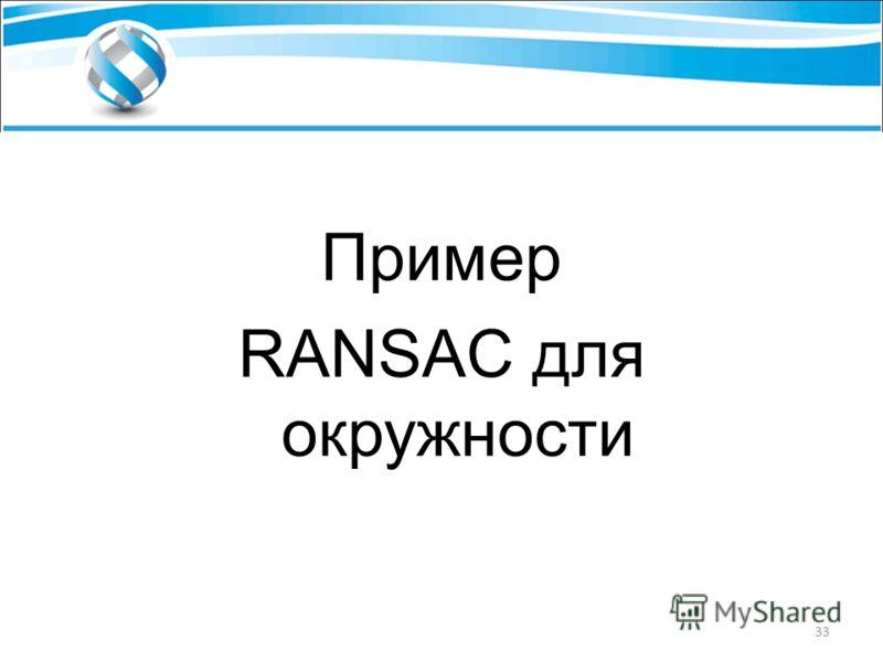 Пример RANSAC для окружности 33
