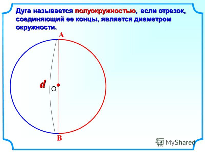 Дуга называется полуокружностью, если отрезок, соединяющий ее концы, является диаметром окружности. О А В d