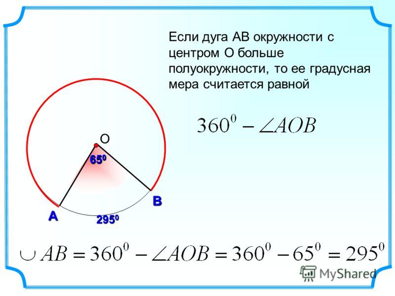 А В О Если дуга АВ окружности с центром О больше полуокружности, то ее градусная мера считается равной 65 0 295 0 65 0