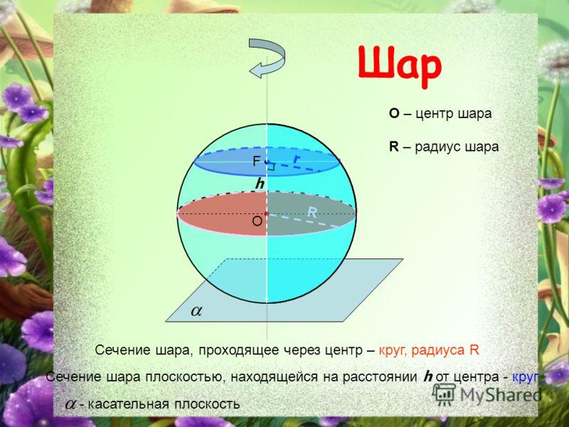 Шар O O – центр шара Сечение шара, проходящее через центр – круг, радиуса R R R – радиус шара F Сечение шара плоскостью, находящейся на расстоянии h от центра - круг h r - касательная плоскость