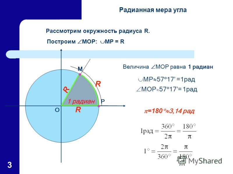 3 =180 3,14 рад R R О Р М R Рассмотрим окружность радиуса R. Построим MOP: МР = R 1 радиан Величина МОР равна 1 радиан МР 57 17 =1рад МОР 57 17= 1рад Радианная мера угла