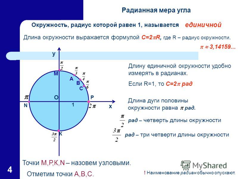 4 Длина окружности выражается формулой C=2 R, где R – радиус окружности. 3,14159... Окружность, радиус которой равен 1, называется … Точки М,Р,К,N – назовем узловыми. Отметим точки А,В,С. Длину единичной окружности удобно измерять в радианах. Если R=