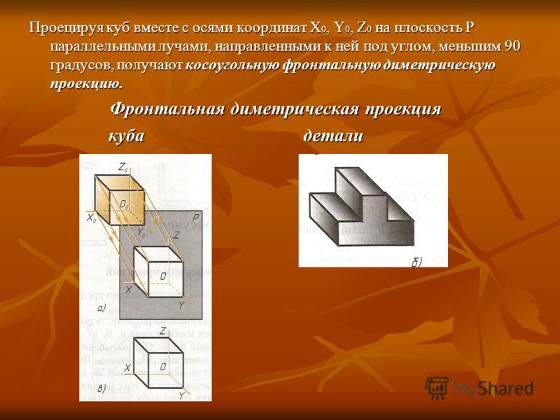 Проецируя куб вместе с осями координат X 0, Y 0, Z 0 на плоскость Р параллельными лучами, направленными к ней под углом, меньшим 90 градусов, получают косоугольную фронтальную диметрическую проекцию. Фронтальная диметрическая проекция куба детали куб
