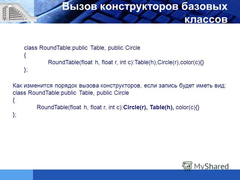 Вызов конструкторов базовых классов class RoundTable:public Table, public Circle { RoundTable(float h, float r, int c):Table(h),Circle(r),color(c){} }; Как изменится порядок вызова конструкторов, если запись будет иметь вид: class RoundTable:public T