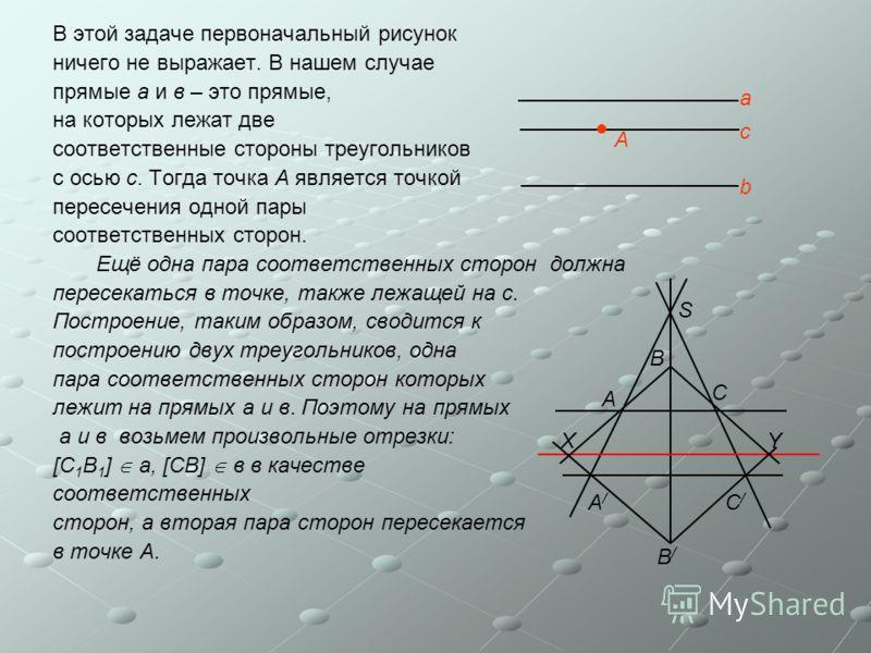 В этой задаче первоначальный рисунок ничего не выражает. В нашем случае прямые а и в – это прямые, на которых лежат две соответственные стороны треугольников с осью с. Тогда точка А является точкой пересечения одной пары соответственных сторон. Ещё о