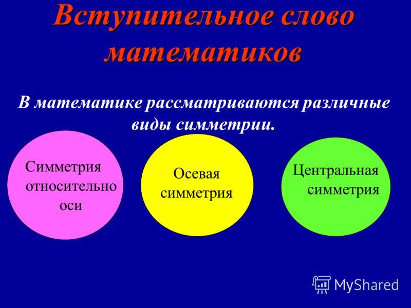 Вступительное слово математиков Вступительное слово математиков В математике рассматриваются различные виды симметрии. Симметрия относительно оси Осевая симметрия Центральная симметрия